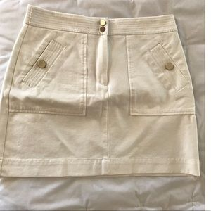 LOFT Cream skirt with gold buttons Size 8